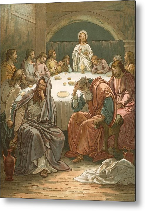Bible; The Last Supper; Jesus Christ; Judas Isacariot; Breaking Bread; Wine Metal Print featuring the painting The Last Supper by John Lawson