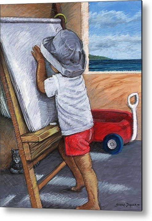 Young Artist Metal Print featuring the painting The Little Artist by Snake Jagger