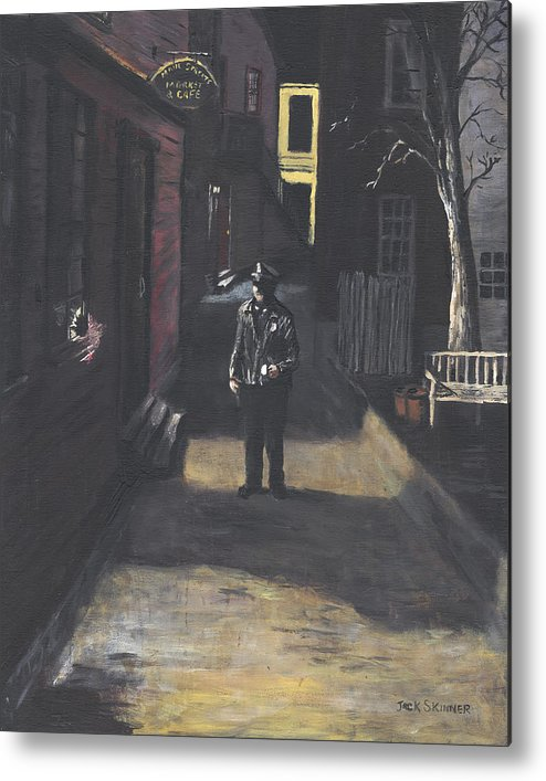 Police Officer Metal Print featuring the painting The Lonely Beat by Jack Skinner