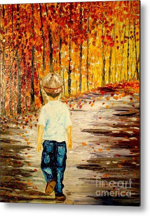Boy Metal Print featuring the painting The Long Way Home by Inna Montano