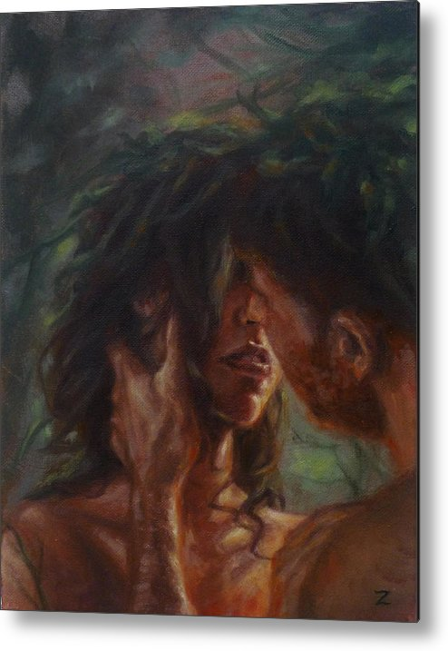 Lovers Metal Print featuring the painting The Lovers by Zara Kand