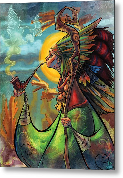 Illustration Metal Print featuring the painting The Mystic by Jayson Green