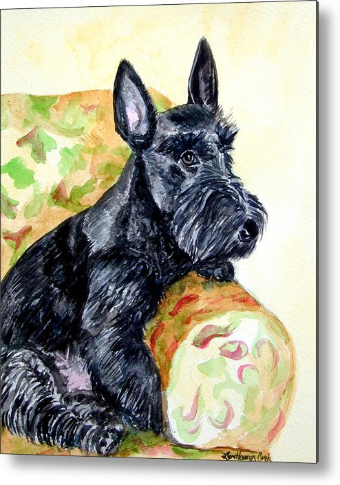 Scottish Terrier Metal Print featuring the painting The Perfect Guest - Scottish Terrier by Lyn Cook