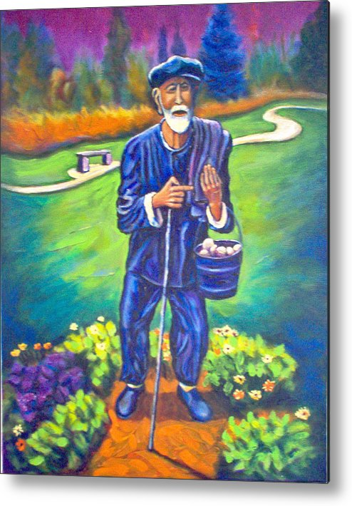 Metal Print featuring the painting The Potato Man by Steve Lawton