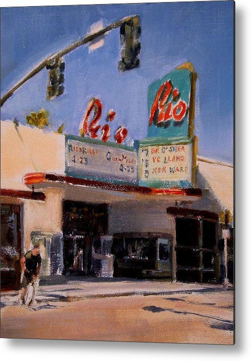 Cityscape Metal Print featuring the painting The Rio Theater by Merle Keller