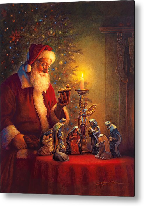 Santa Claus Metal Print featuring the painting The Spirit Of Christmas by Greg Olsen