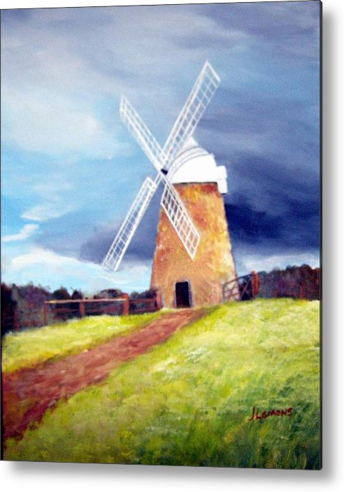 Painting Metal Print featuring the painting The Windmill by Julie Lamons