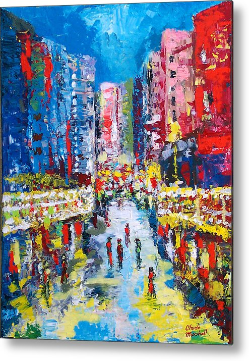Abstract Metal Print featuring the painting Theatre Street by Claude Marshall