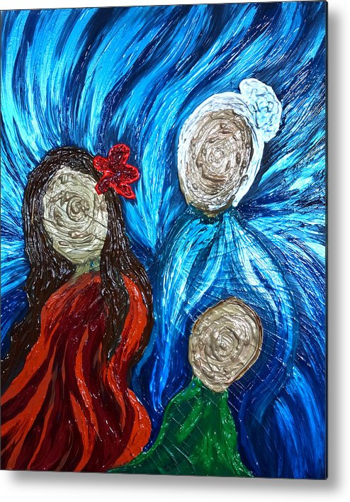 Three Metal Print featuring the painting Three Generations by Michelle Pier