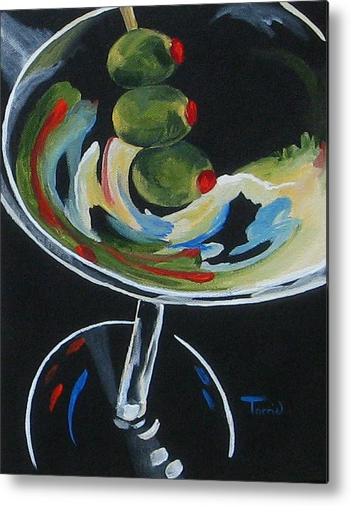 Martini Metal Print featuring the painting Three Olive Martini V by Torrie Smiley