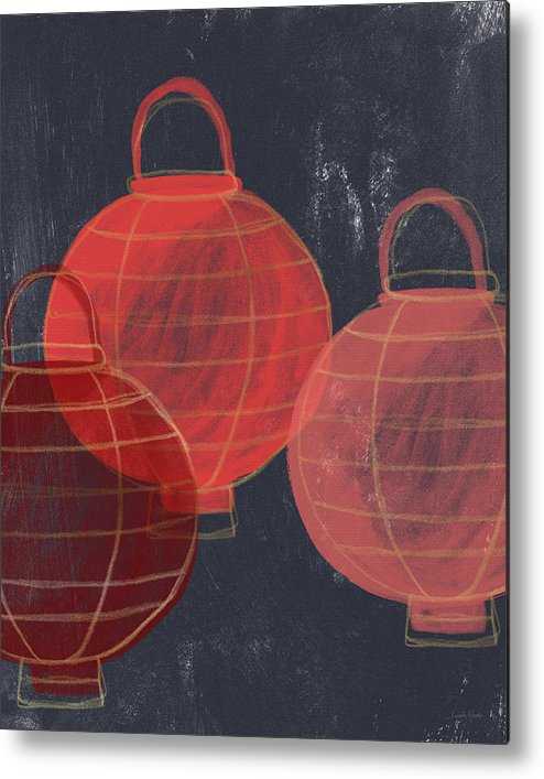 Lanterns Metal Print featuring the painting Three Red Lanterns- Art By Linda Woods by Linda Woods