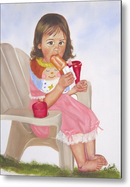 Child Metal Print featuring the painting Time Out For Ice Cream by Joni McPherson