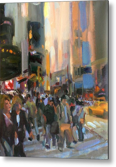 New York Metal Print featuring the painting Times Square by Merle Keller