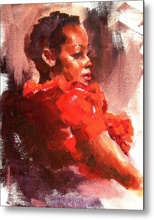 Portrait Metal Print featuring the painting Totally Red by Merle Keller