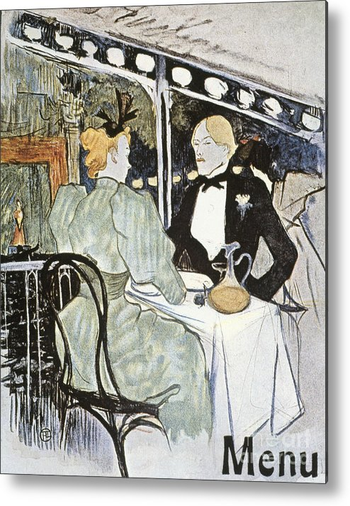 19th Century Metal Print featuring the photograph Toulouse-lautrec: Menu by Granger