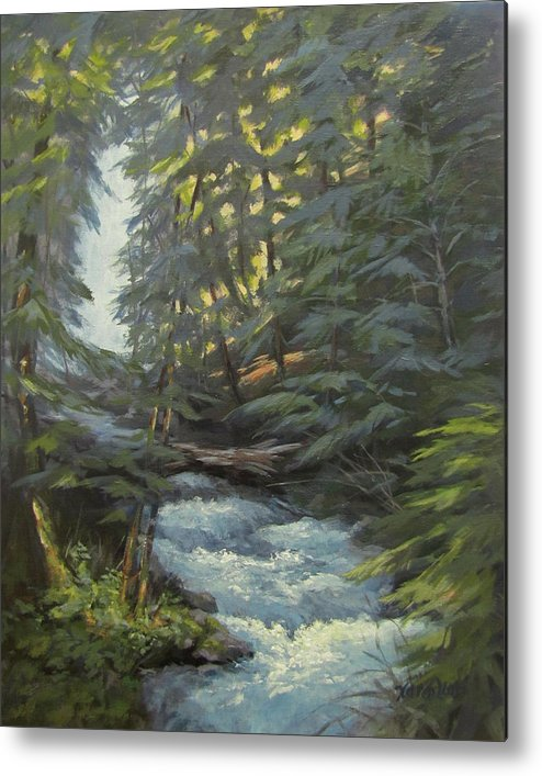 Waterfall Metal Print featuring the painting Trail To The Falls by Karen Ilari