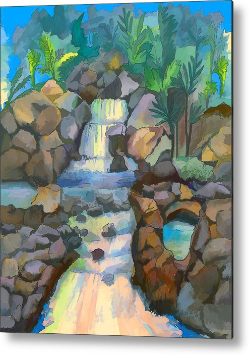 Waterfall Metal Print featuring the painting Tropical Rainbow Waterfall by Arline Wagner