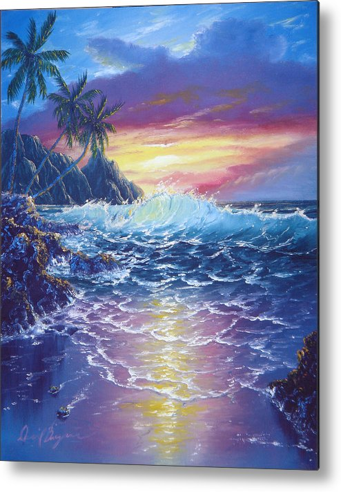 Dolphin Metal Print featuring the painting Tropical Seascape by Daniel Bergren