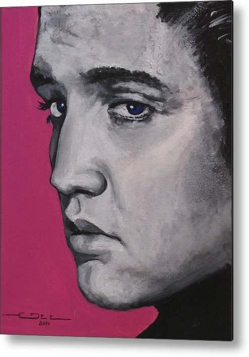 Elvis Presley Metal Print featuring the painting Trouble - Born Standing Up by Eric Dee