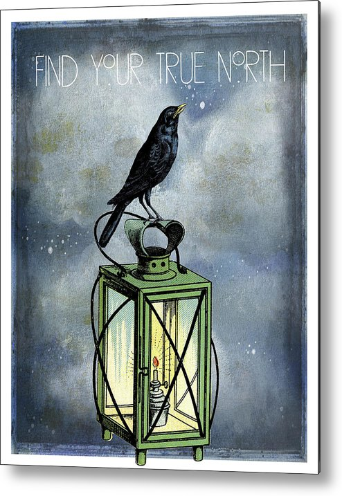 Crow On Lantern Metal Print featuring the digital art True North Crow Sits On The Night Lantern by Sandra McGinley