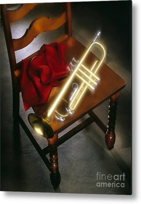 Trumpet Metal Print featuring the photograph Trumpet On Chair by Tony Cordoza