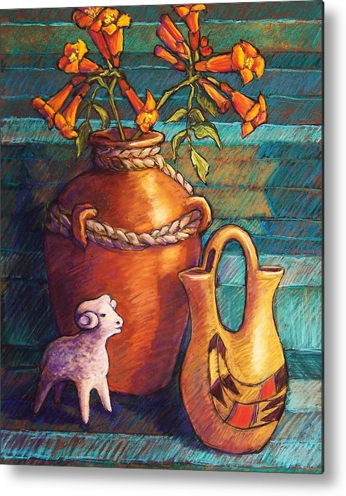 Still Life Metal Print featuring the pastel Trumpet Vines And Pottery by Candy Mayer