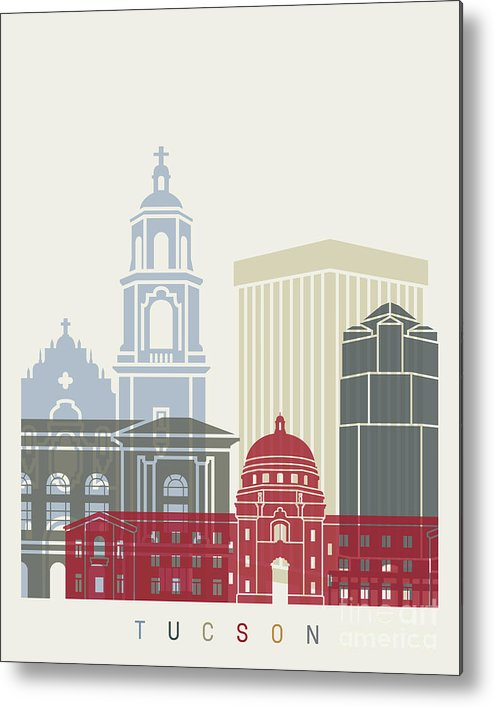 Tucson Metal Print featuring the painting Tucson Skyline Poster by Pablo Romero