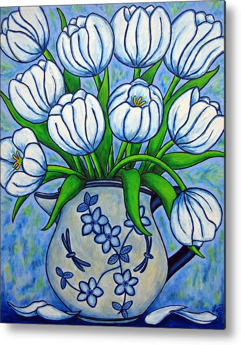 Flower Metal Print featuring the painting Tulip Tranquility by Lisa Lorenz