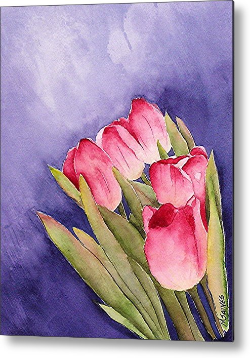 Red Tulips Metal Print featuring the painting Tulips In The Wind by Mary Gaines