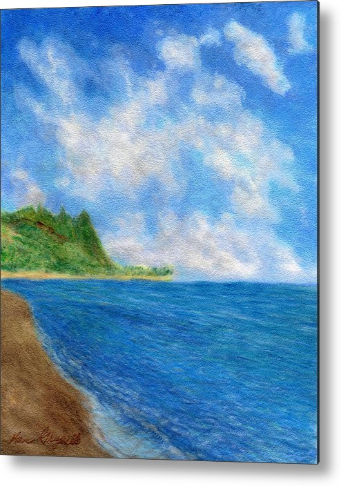 Rainbow Colors Pastel Metal Print featuring the painting Tunnels Beach Sky by Kenneth Grzesik