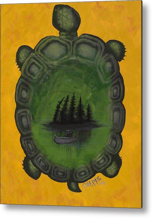 Turtle Metal Print featuring the painting Turtle Island by Derek Snapps Keenatch