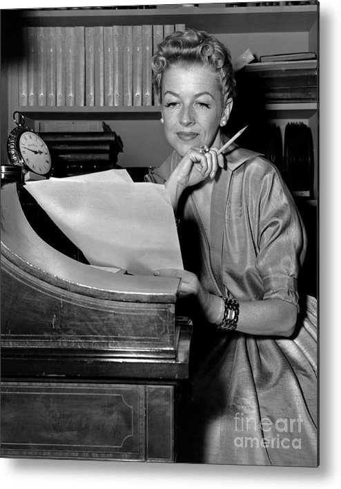 Betty Furness; New York Post Print; New York Post; Black And White Photo; Actor; Actress; Anthony Calvacca Metal Print featuring the photograph Tv And Big Screen Actress, Betty Furness. 1956 by Anthony Calvacca