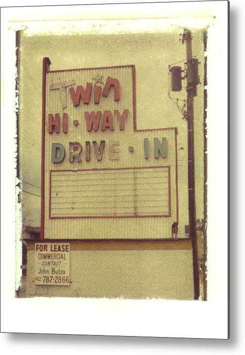 Polaroid Metal Print featuring the photograph Twin Hi-way Drive-in Sign by Steven Godfrey