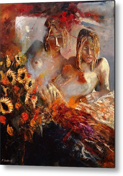 Girl Nude Metal Print featuring the painting Two Friends by Pol Ledent