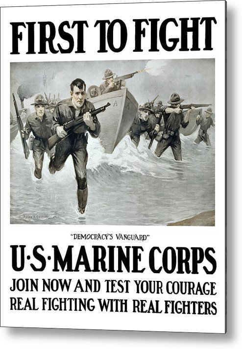 Marines Metal Print featuring the painting Us Marine Corps - First To Fight by War Is Hell Store