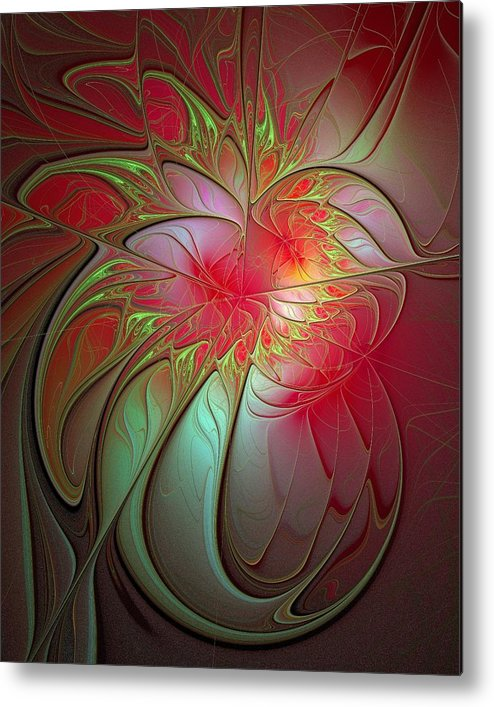 Digital Art Metal Print featuring the digital art Vase Of Flowers by Amanda Moore