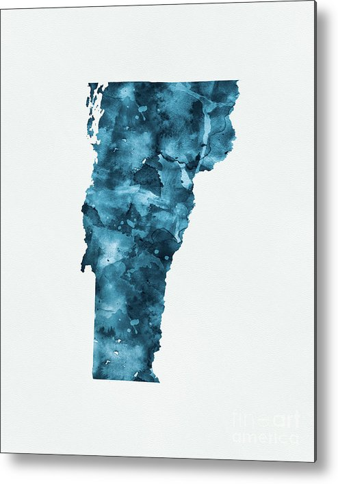 Vermont Metal Print featuring the mixed media Vermont by Monn Print