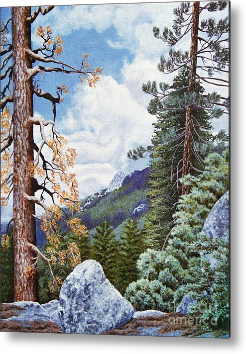 Landscape Paintings Metal Print featuring the painting View From High Castle by Jiji Lee