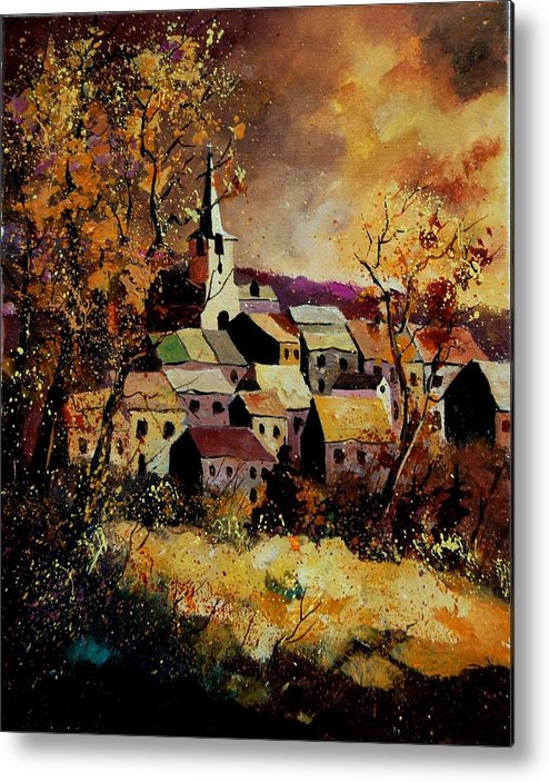 River Metal Print featuring the painting Village In Fall by Pol Ledent