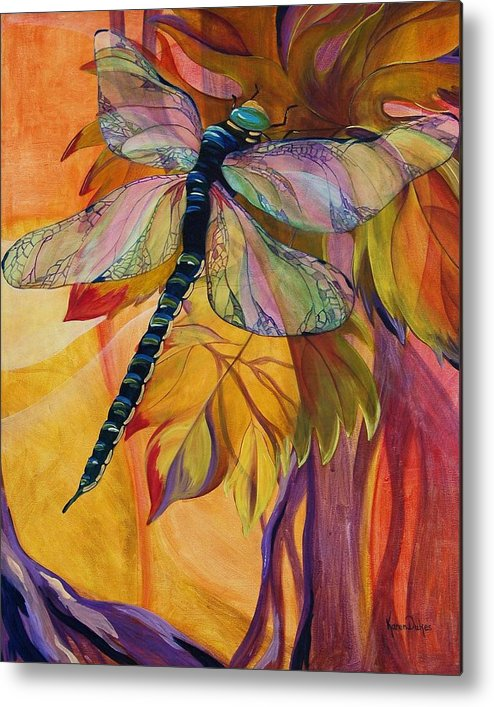 Dragonfly Metal Print featuring the painting Vineyard Fantasy by Karen Dukes