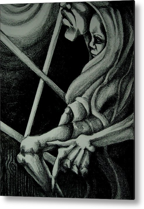 Mother Metal Print featuring the drawing Waiting by Dannielle Murphy