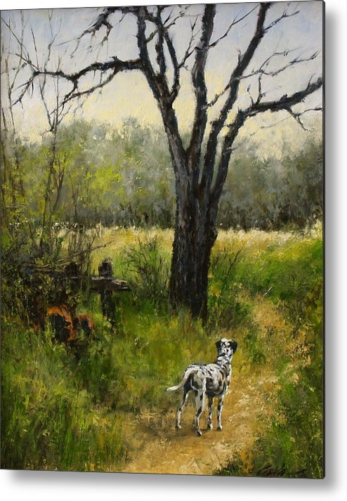 Painting Metal Print featuring the painting Walking With Farley by Jim Gola