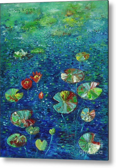 Lotus Paintings Metal Print featuring the painting Water Lily Lotus Lily Pads Paintings by Seon-Jeong Kim