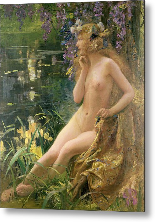 Water Nymph (oil On Canvas) By Gaston Bussiere (1862-1929) Metal Print featuring the painting Water Nymph by Gaston Bussiere