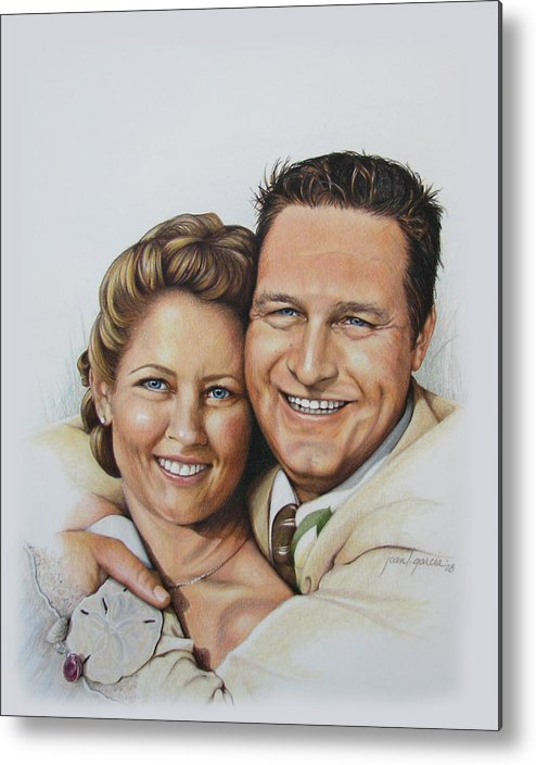 Wedding Portraits Metal Print featuring the drawing Wedding Portrait Jeremy N Katie by Joan Garcia