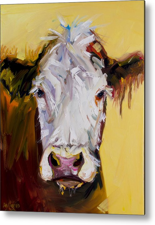 Cow Metal Print featuring the painting White One by Diane Whitehead