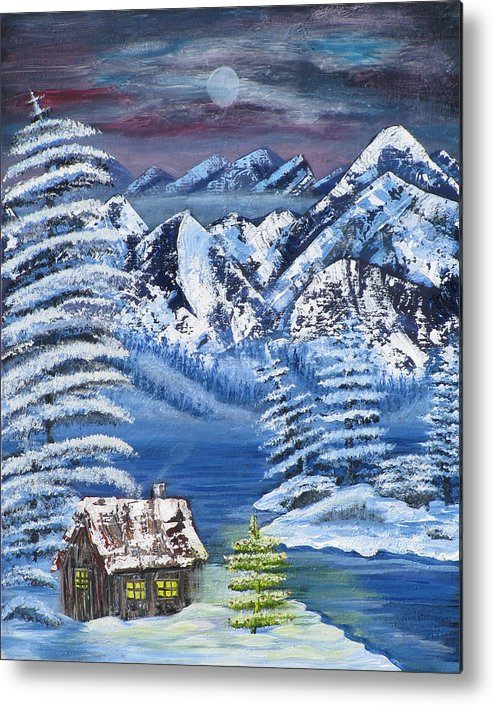 Snow Metal Print featuring the painting Wilderness Christmas by Mikki Alhart