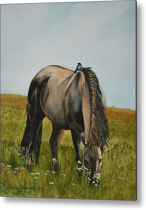 Grazing Horse Metal Print featuring the painting Willow by Tina Sander