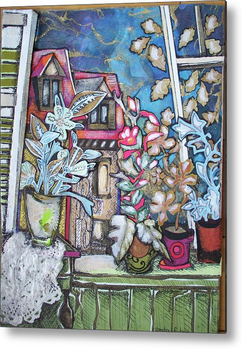 Landscape Metal Print featuring the mixed media Window In France by Sandra fw Beaty