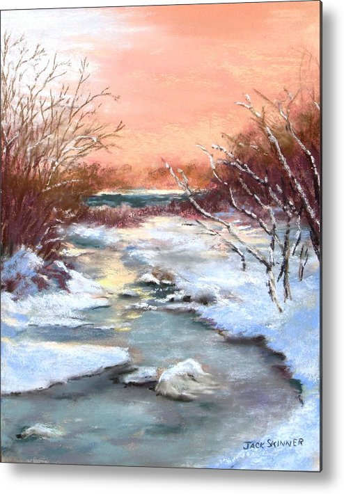Winter Metal Print featuring the painting Winter Brook by Jack Skinner